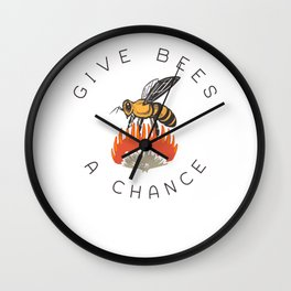 Give Bees A Chance / Pollinators Flowers Hive Save Colony design Wall Clock