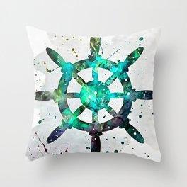 The Captains Wheel Throw Pillow