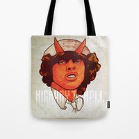 acdc Tote Bags featuring ACDC   Highway to Hell by KVNCHRLZ