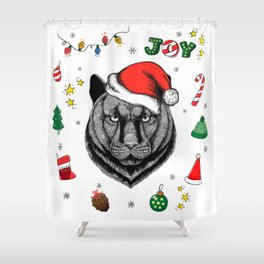 Merry Christmas Panther Shower Curtain