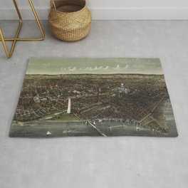 The City of Washington Birds-Eye view from the Potomac-looking North (1892) Rug
