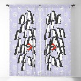 Santa Claus, Fergus the dog, visits the Penguins at Christmas Blackout Curtain