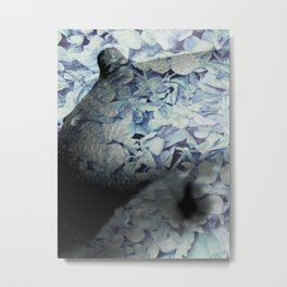 Blue Floral Breasts Metal Print