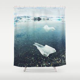 Glacial Floating in Iceland Shower Curtain