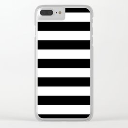 Black and White Medium Stripes Pattern Clear iPhone Case