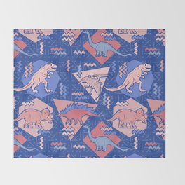 Nineties Dinosaurs Pattern  - Rose Quartz and Serenity version Throw Blanket