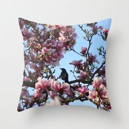 Blackbird Singing In The Magnolia Tree Throw Pillow