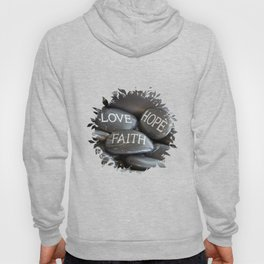 Love Faith Hope Christian Quote Black Pebble Embossing Hoody