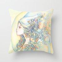 zodiac Throw Pillows featuring Zodiac - Aquarius by Hellobaby