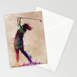 Golf player art 2 Stationery Cards