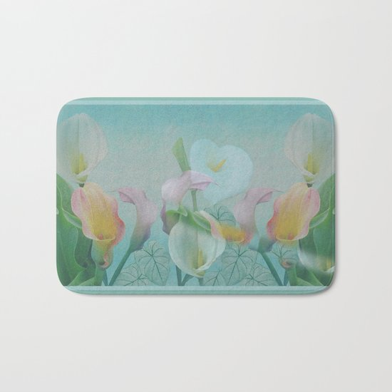 Painterly Calla flowers and leaves Bath Mat