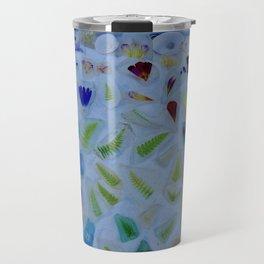 Flowers on Beach Glass 3 Travel Mug