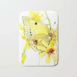 Yellow Butterfly and Yellow Flowers Bath Mat