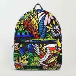 Rainbow Rhino Negative Background Backpack