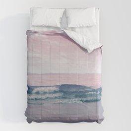 Pacific Dreamscape - Ocean Waves Pink + Blue Comforters