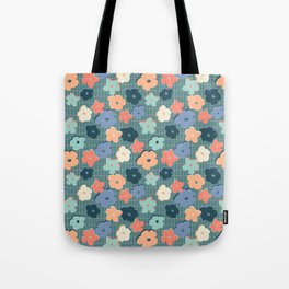 Peach and Aqua Flower Grid Tote Bag