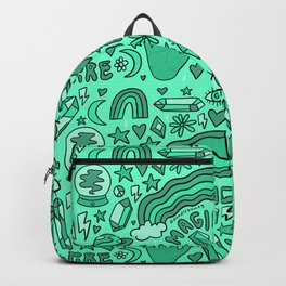Turquoise Print Backpack