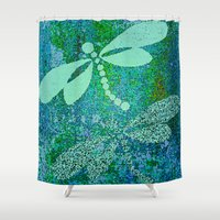 dragonfly Shower Curtains featuring Dragonfly  by Saundra Myles