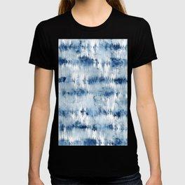 Modern hand painted dark blue tie dye batik watercolor T-shirt