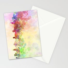 Sao Paulo skyline in watercolor background Stationery Cards