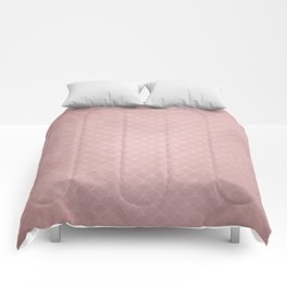 Grunge textured rose quartz small scallop pattern Comforters