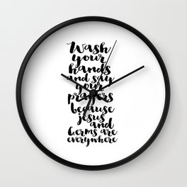 Wash Your Hands Printable Art Bible Verse Art Bable Cover Bible Verse Quotes Nursery Wall Art Wall Clock
