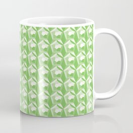 3D Optical Illusion: Green Dodecahedron Pattern Coffee Mug