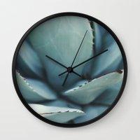 succulents Wall Clocks featuring succulents by Die Schönheit des Augenblicks