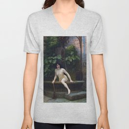 TRUTH COMING OUT OF HER WELL TO SHAME MANKIND - JEAN-LEON GEROME Unisex V-Neck