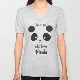 Just a girl who loves Pandas T-Shirt - Panda  t-shirt for girls. Unisex V-Neck