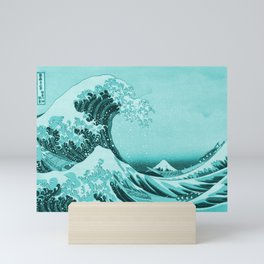 Aqua Blue Japanese Great Wave off Kanagawa by Hokusai Mini Art Print