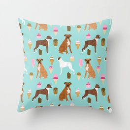 boxer ice cream dog lover pet gifts cute boxers pure breeds Throw Pillow