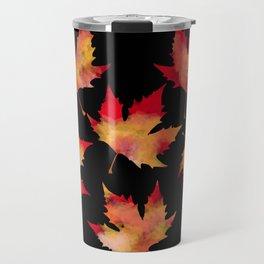 Maple leaves black Travel Mug
