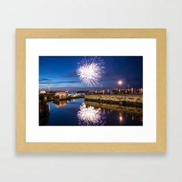 Reflecting with Fireworks Framed Art Print