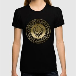 Decorative Khanda symbol gold on black T-shirt