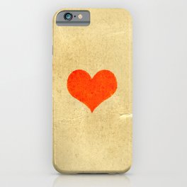 Red heart shape on a texture of old yellowed and cracked paper iPhone Case