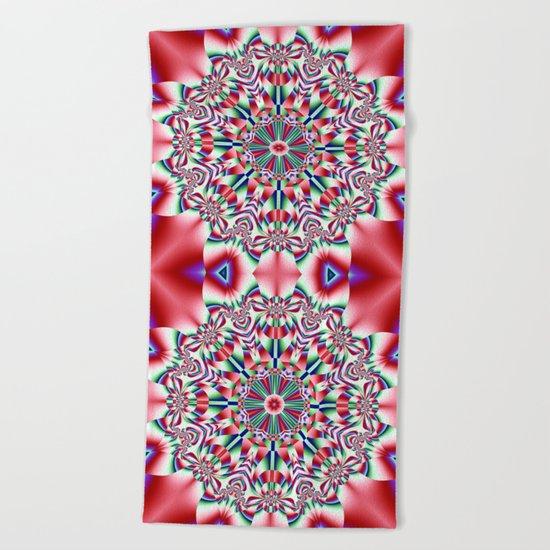 Decorative colourful patterns in a kaleidoscope design Beach Towel