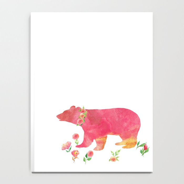 Bear with flowers - Animals Watercolor illustration Notebook
