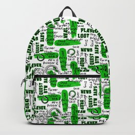 Gamer Lingo-White and Green Backpack