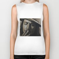 johnny depp Biker Tanks featuring Johnny Depp by Future Illustrations- Artwork by Julie C