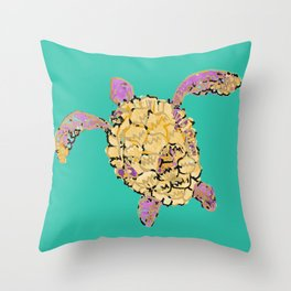 turtle pink Throw Pillow