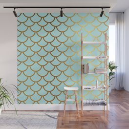 Aqua Teal And Gold Foil MermaidScales - Mermaid Scales Wall Mural