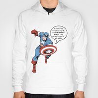 steve rogers Hoodies featuring Steve Rogers - The Straight Man by tangofox