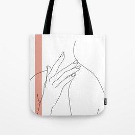 Hands line drawing illustration - Danna stripe Tote Bag
