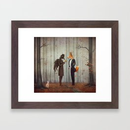 Raven and Fox in  a dark forest looking at the watch Framed Art Print