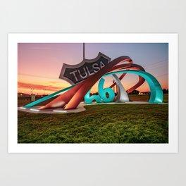 Tulsa Rt 66 Rising Out of Mingo Rd Circle - Oklahoma Sunrise Art Print