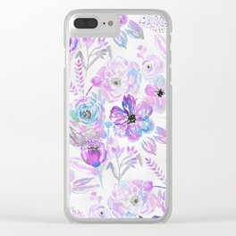 Hand painted modern pink lavender blue watercolor flowers Clear iPhone Case