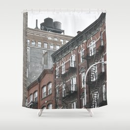 New York City corners, fire escapes, ladders fine art , nyc, America, photo Shower Curtain