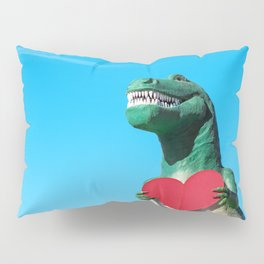 Tiny Arms, Big Heart: Tyrannosaurus Rex with Red Heart Pillow Sham