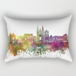 Angers skyline in watercolor background Rectangular Pillow